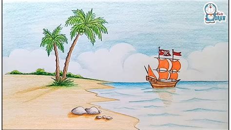 How to draw scenery of island with pencil color step by