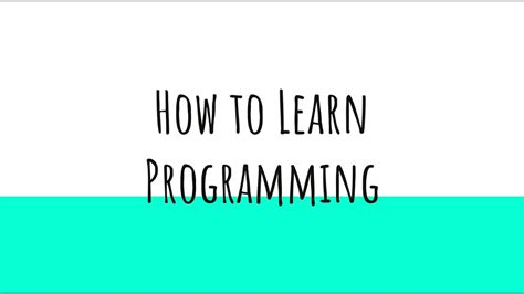 How to learn Programming - YouTube