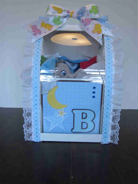 Box made to look like a baby block filled with gifts