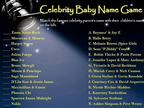 Cool baby shower game! Celebrity Baby Name Game PRINTABLE