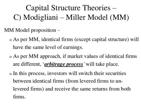 Capital Structure Theory Modigliani and Miller (MM